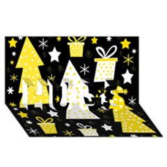 Yellow Playful Xmas Hugs 3d Greeting Card (8x4) by Valentinaart