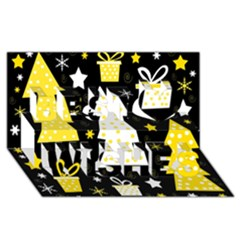 Yellow Playful Xmas Best Wish 3d Greeting Card (8x4) by Valentinaart