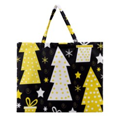 Yellow Playful Xmas Zipper Large Tote Bag by Valentinaart