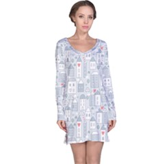 Houses Pattern Long Sleeve Nightdress