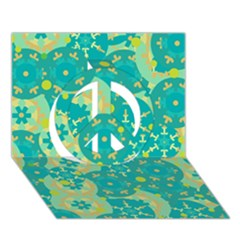 Cyan Design Peace Sign 3d Greeting Card (7x5) by Valentinaart