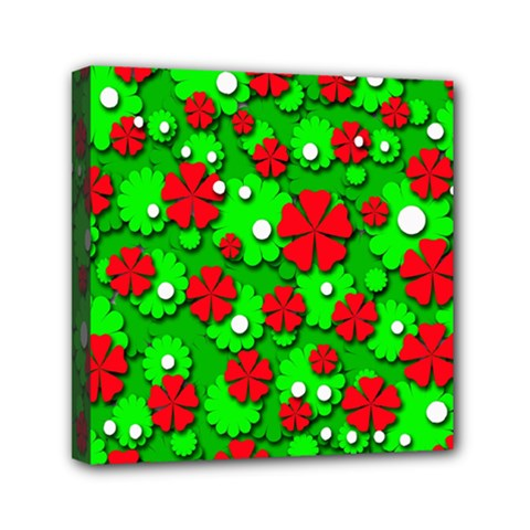 Xmas Flowers Mini Canvas 6  X 6  by Valentinaart