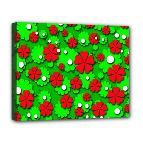 Xmas Flowers Deluxe Canvas 20  X 16   by Valentinaart