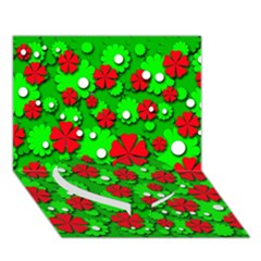 Xmas Flowers Heart Bottom 3d Greeting Card (7x5)