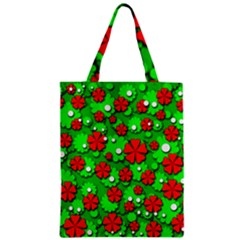 Xmas Flowers Zipper Classic Tote Bag by Valentinaart
