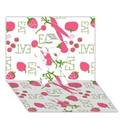 Eat Pattern Tomato Cerry Friute Ribbon 3d Greeting Card (7x5)