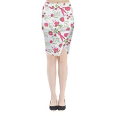 Eat Pattern Tomato Cerry Friute Midi Wrap Pencil Skirt by AnjaniArt