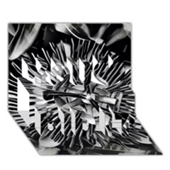 Black And White Passion Flower Passiflora  You Did It 3d Greeting Card (7x5) by yoursparklingshop