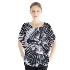 Black And White Passion Flower Passiflora  Blouse by yoursparklingshop