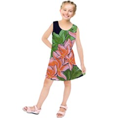 Decorative Flowers Kids  Tunic Dress by Valentinaart