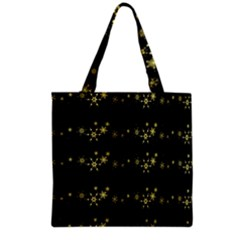 Yellow Elegant Xmas Snowflakes Grocery Tote Bag by Valentinaart