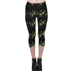 Yellow Elegant Xmas Snowflakes Capri Leggings  by Valentinaart