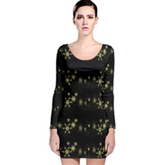 Yellow Elegant Xmas Snowflakes Long Sleeve Velvet Bodycon Dress by Valentinaart