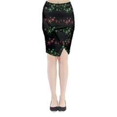 Decorative Xmas Snowflakes Midi Wrap Pencil Skirt