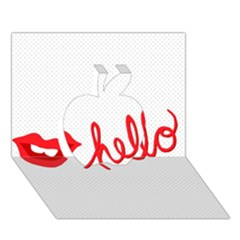 Hello Lip Red Sexy Apple 3d Greeting Card (7x5) by AnjaniArt