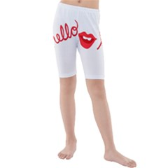 Hello Lip Red Sexy Kids  Mid Length Swim Shorts