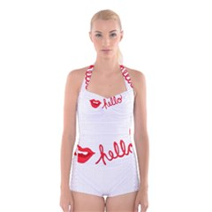 Hello Lip Red Sexy Boyleg Halter Swimsuit  by AnjaniArt