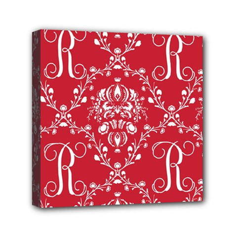 Initial Damask Red Paper Mini Canvas 6  X 6