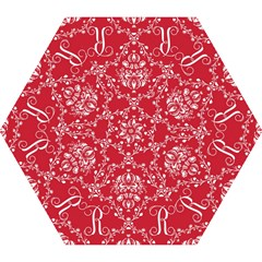 Initial Damask Red Paper Mini Folding Umbrellas by AnjaniArt