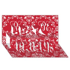 Initial Damask Red Paper Best Friends 3d Greeting Card (8x4)