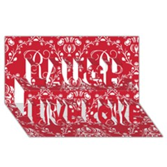 Initial Damask Red Paper Laugh Live Love 3d Greeting Card (8x4)