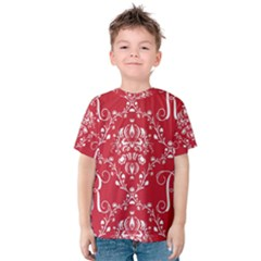 Initial Damask Red Paper Kids  Cotton Tee