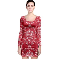 Initial Damask Red Paper Long Sleeve Bodycon Dress