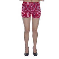 Initial Damask Red Paper Skinny Shorts