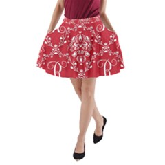 Initial Damask Red Paper A-line Pocket Skirt