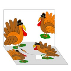 Thanksgiving Turkeys Circle Bottom 3d Greeting Card (7x5) by Valentinaart