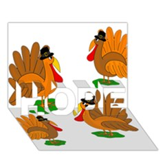 Thanksgiving Turkeys Hope 3d Greeting Card (7x5) by Valentinaart