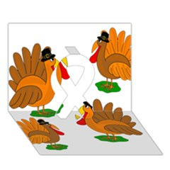 Thanksgiving Turkeys Ribbon 3d Greeting Card (7x5) by Valentinaart