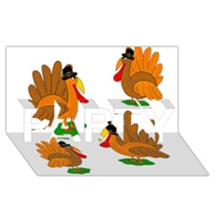 Thanksgiving Turkeys Party 3d Greeting Card (8x4) by Valentinaart