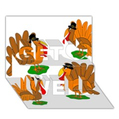 Thanksgiving Turkeys Get Well 3d Greeting Card (7x5) by Valentinaart