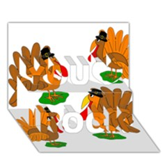 Thanksgiving Turkeys You Rock 3d Greeting Card (7x5) by Valentinaart