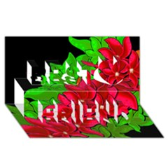 Xmas Red Flowers Best Friends 3d Greeting Card (8x4)
