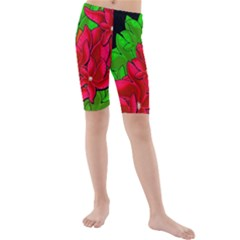 Xmas Red Flowers Kids  Mid Length Swim Shorts by Valentinaart