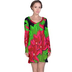 Xmas Red Flowers Long Sleeve Nightdress by Valentinaart