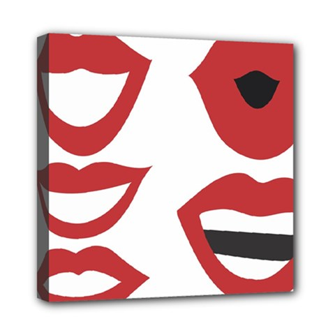 Lip Sexy Red Mini Canvas 8  X 8  by AnjaniArt
