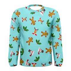 Pattern Merry Christmas Gingerbread Reindeer Man Snowman Holly Men s Long Sleeve Tee