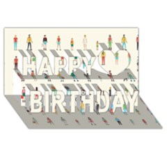 Peopel Happy Birthday 3d Greeting Card (8x4) by AnjaniArt