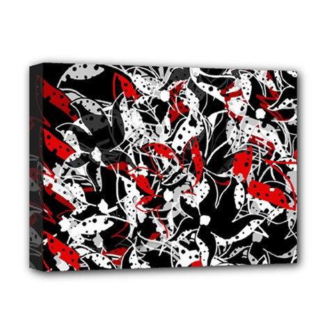 Red Abstract Flowers Deluxe Canvas 16  X 12   by Valentinaart