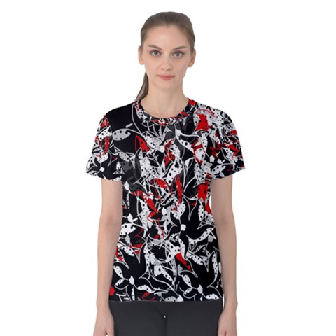 Red Abstract Flowers Women s Cotton Tee by Valentinaart