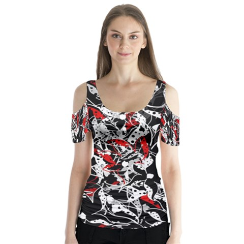 Red Abstract Flowers Butterfly Sleeve Cutout Tee  by Valentinaart
