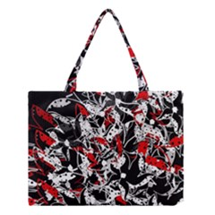 Red Abstract Flowers Medium Tote Bag by Valentinaart