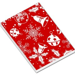 Red Winter Holiday Pattern Red Christmas Large Memo Pads by AnjaniArt