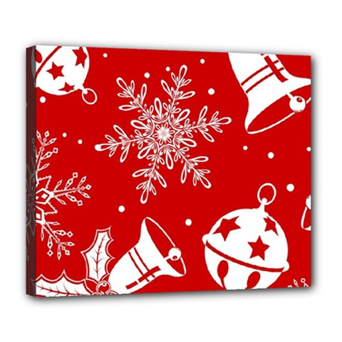 Red Winter Holiday Pattern Red Christmas Deluxe Canvas 24  X 20