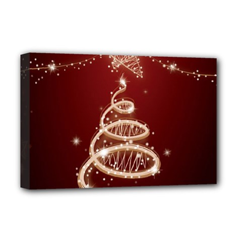 Shiny Christmas Tree Deluxe Canvas 18  X 12   by AnjaniArt