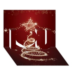 Shiny Christmas Tree I Love You 3d Greeting Card (7x5) by AnjaniArt