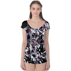 Decorative Abstract Floral Desing Boyleg Leotard  by Valentinaart